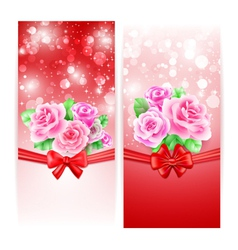 Two glowing banners with roses ribbon and bow vector image