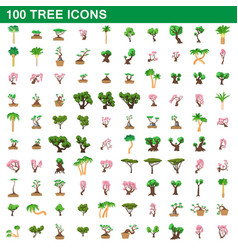 100 tree icons set cartoon style vector image