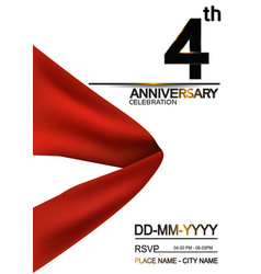 4 anniversary design with big red ribbon isolated vector