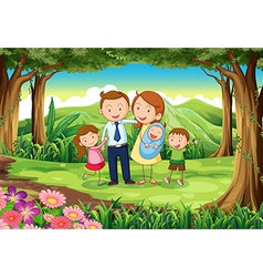 A family at the woods vector