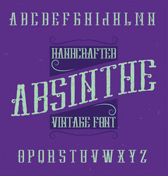 absinthe label font and sample label design vector image