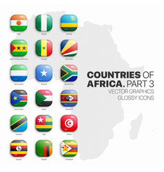 African countries flags 3d glossy icons set vector