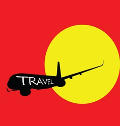 airplane with travel color vector image