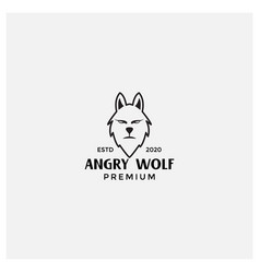 Angry wolf face vintage line logo design template vector