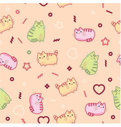 Animal print pattern cute kawaii style cat kitten vector