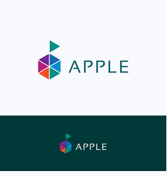 apple hexagon company logo vector image
