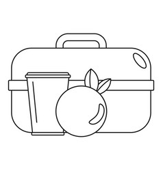 apple lunch box icon outline style vector image