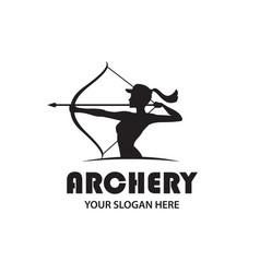 Archering girl emblem vector
