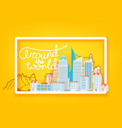 around world travel concept with white frame vector image