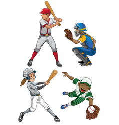 Baseball players set vector