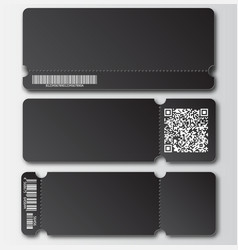 Black ticket template with tear-off element vector