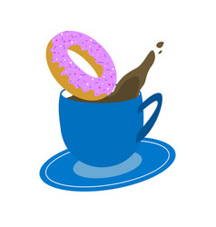 blue cup of coffee with donut on white background vector image