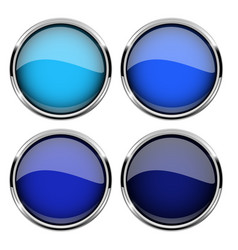 blue glass buttons with metal frame set of shiny vector image