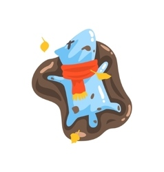 Blue Jelly Zombie Dog Monster Rolling In Puddle Of vector