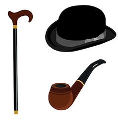 Bowler hat smoking pipe and walking stick vector image