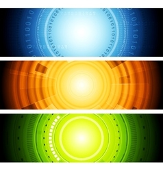 Bright abstract tech banners vector