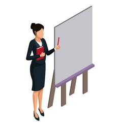 Business woman presentation 3d vector