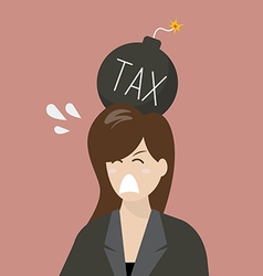 Business woman with tax bomb on her head vector
