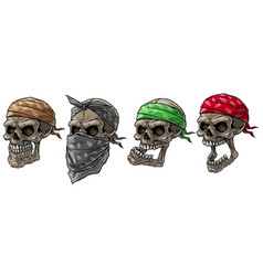 Cartoon biker skulls with bandana and scarf vector