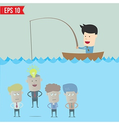 Cartoon businessman catching idea in the sea - vector