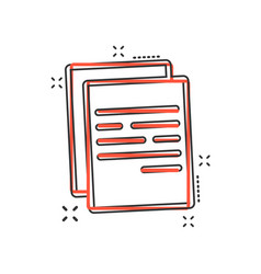 cartoon document icon in comic style paper page vector image