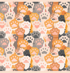 cats paw pattern cute kitten foot background vector image