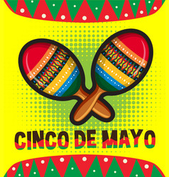 Cinco de mayo card template with maracas vector