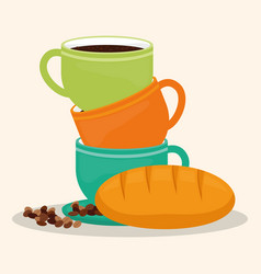 coffee cup bread dessert bean vector image