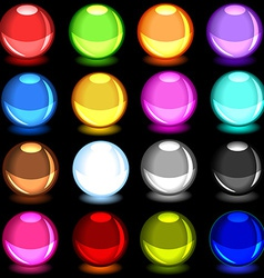 collection colorful glossy spheres over black vector image