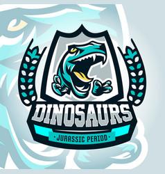 Colourful emblem logo dangerous raptor ready vector