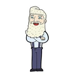 Comic cartoon happy man with beard vector
