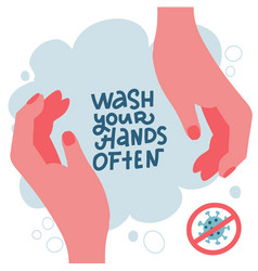 Coronavirus protect yourself covid-19 wash your vector