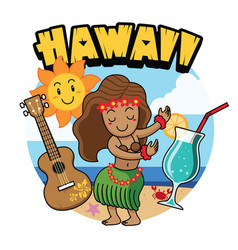 Cute cartoon hawaiian girl dancing vector