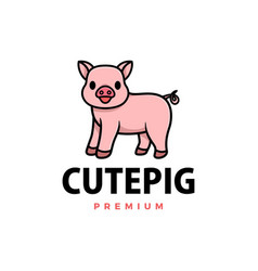 cute pig cartoon logo icon vector image