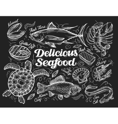 Delicious seafood Hand drawn sketch of a fish vector image