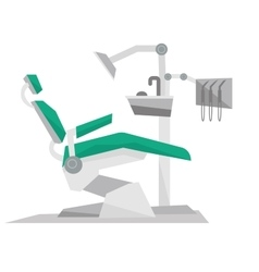 Dental chair with instruments and tools vector