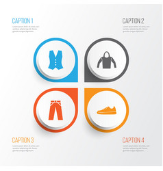 dress icons set collection of waistcoat sneakers vector image