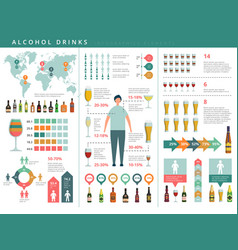 drink infographic glass and alcohol drinks vector image