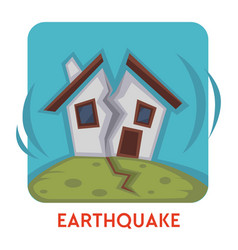 Earthquake natural disaster isolated icon house vector