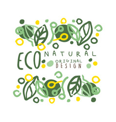 Eco natural label logo graphic template original vector
