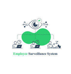 Employee monitoring system surveillance concept vector