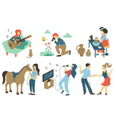 Equestrian sport pottery and singing photography vector