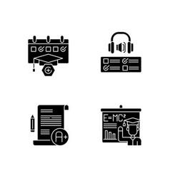 examination tickets black glyph icons set vector image
