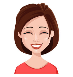 face expression of a woman - laughing vector image