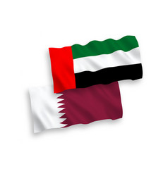 Flags qatar and united arab emirates on a white vector