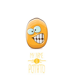 funny cartoon cute tiny potato character vector image