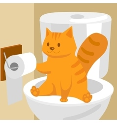 Ginger cat on toilet cartoon vector