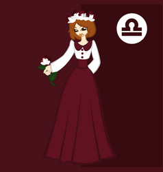 Girl in theme flowers for zodiac libra vector