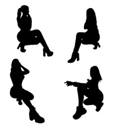 Girl silhouette posing four woman figure vector