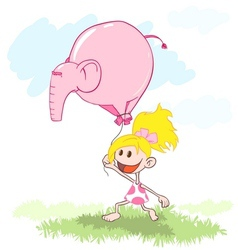 girl with a pink elephant balloon vector image